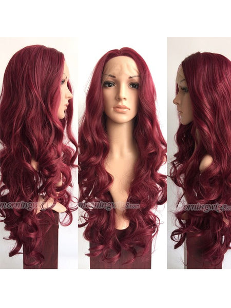 24 inches burgundy bodywave synthetic lace front wig - Luckin Wigs