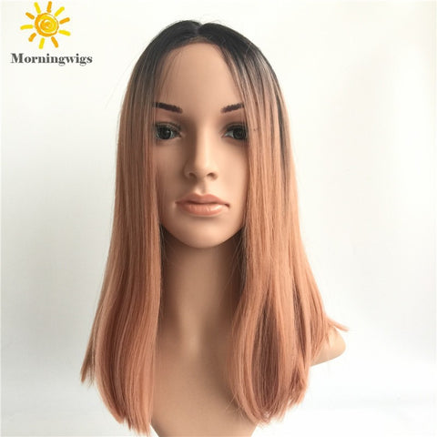 Black ombre pink straight synthetic lace front wig - Luckin Wigs