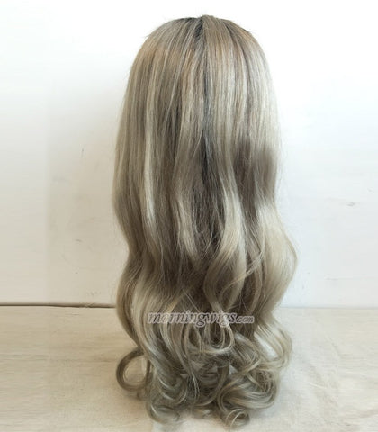 22 inches 1B-Silver gray ombre color body wave human hair lace wig - Luckin Wigs