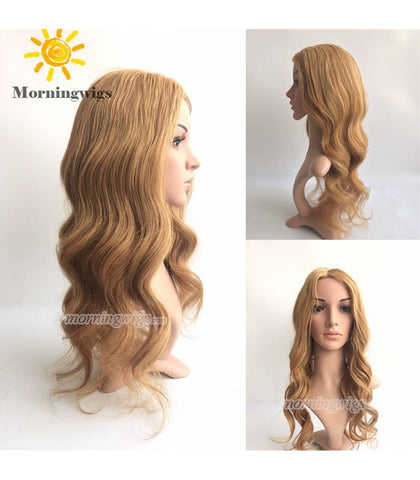 22 inches brown body wave hd swiss lace wigs Brazilian Hair full lace wig - Luckin Wigs