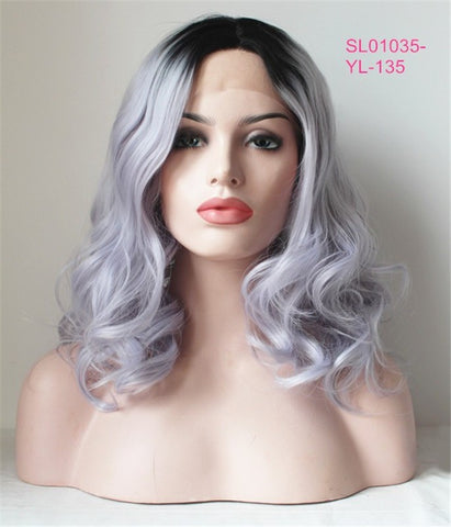 Black ombre Gray Long Body Wave  Synthetic Lace Front Wig - Luckin Wigs