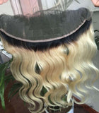 13x4 Ombre 1B 613 HD Lace Frontal Closure Swiss Lace Body Wave Dark Root Blonde Closure - Luckin Wigs