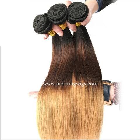 16 inches straight 1B-4-27 ombre color human hair extensions - Luckin Wigs