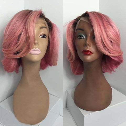 Top Quality Lace Wig 1B-Pink Short Cut Wave Glueless Lace front Wig - Luckin Wigs