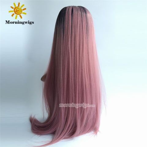 "22"" dark pink lace front synthetic wigs - Luckin Wigs"