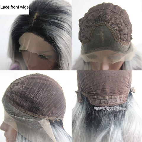 Black and grey color wigs short bobo styler Synthetic lace front lace wigs - Luckin Wigs