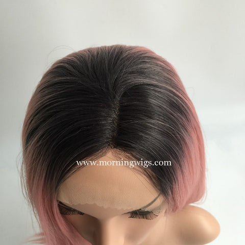 Black Ombre Pink Synthetic lace front wigs for women - Luckin Wigs