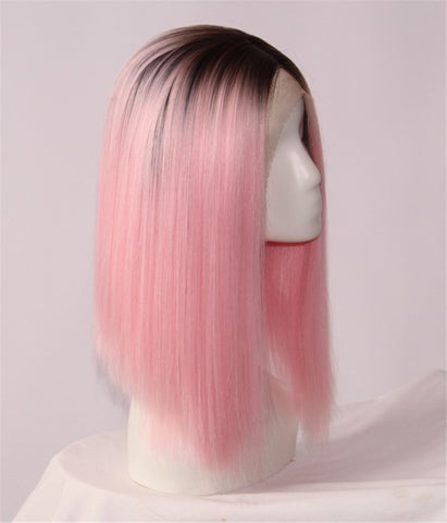 Fashion Synthetic Lace Front Wig Hot Pink Wig - Luckin Wigs