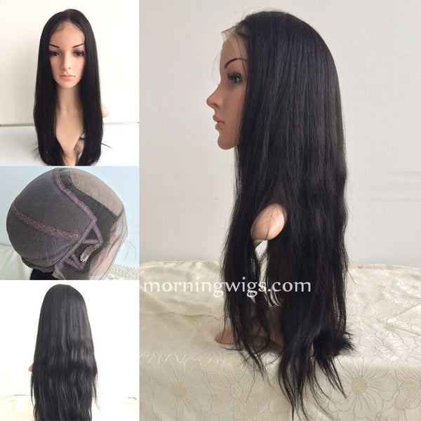 20 inches straight human lace wig Brizilian Virgin Human Hair Wigs,150% density natrual straight lace wig - Luckin Wigs