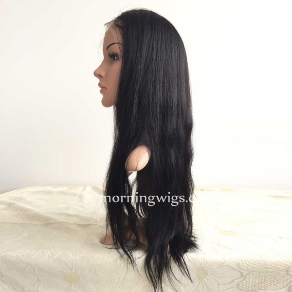 Natural Straight Human Hair Wigs Fake Scalp Lace Wigs - Luckin Wigs