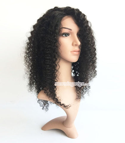 "16"" Kinky curly  lace wig natrual black color human hair wigs 150% density - Luckin Wigs"