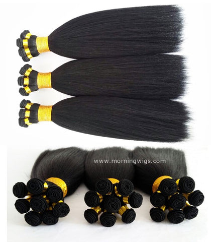 Handmade coarse yaki natural black human hair bundles - Luckin Wigs