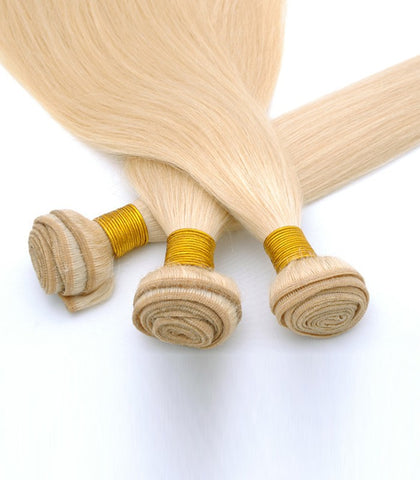 Human remy hair blonde color 613 hair weft - Luckin Wigs