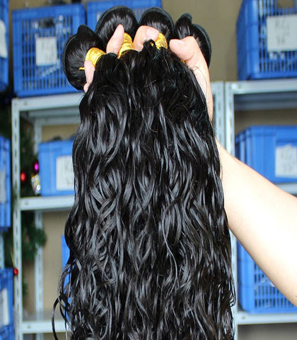 black water wave Mongolian human hair wefts - Luckin Wigs