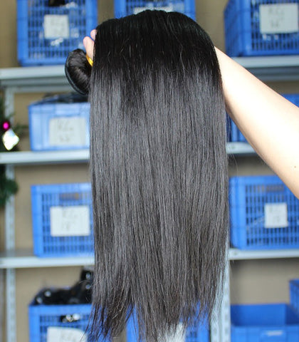 Natural black human virgin hair straight bundles - Luckin Wigs