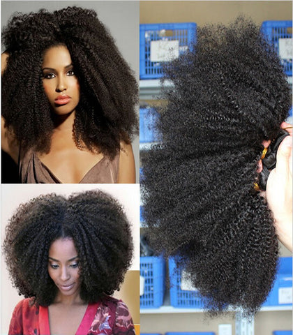 Top fashion natural black 14inch afro kinky curly  Brazilian human hair extension - Luckin Wigs