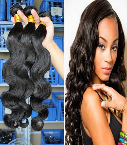 body wavy style virgin Indian human hair wefts - Luckin Wigs