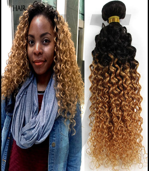 22 inch blonde ombre curly human hair bundles - Luckin Wigs