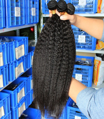 bleached knots black kinky straight Brazilian human hair bundles - Luckin Wigs