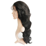 "Brizilian Virgin Human Hair Gluless Full Lace Wigs With Silk Top Natural Black 20"" Body Wave Density 150% - Luckin Wigs"