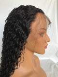 "Human Remy Hair Curly Wigs Lace Front Wigs with Silk Top Natural Black 20"" 150% Density - Luckin Wigs"