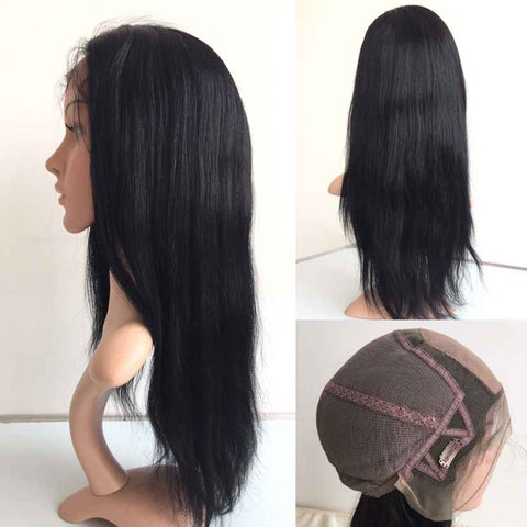 "Black Straight 100% Virgin Satin Lace Human Hair Wigs 1B 16"" Natural Straight - Luckin Wigs"
