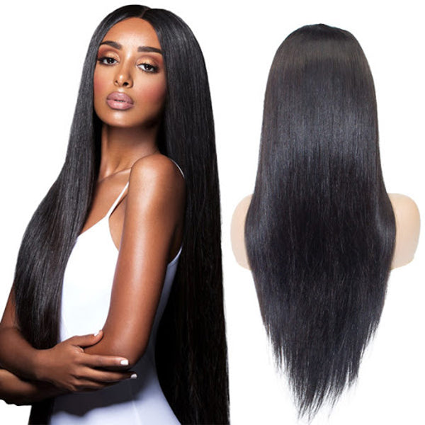 22 inches black straight virgin human hair glueless lace wigs for gorgeous girls - Luckin Wigs