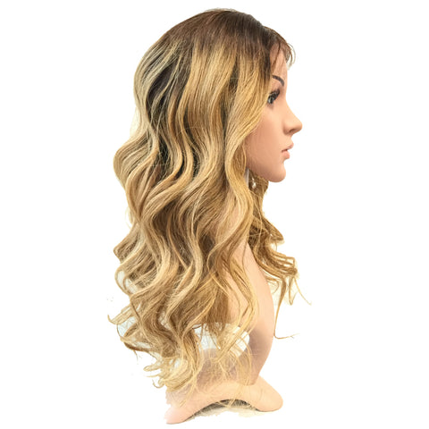 20 inches brown blonde ombre 4 -27 body wave lace wig - Luckin Wigs