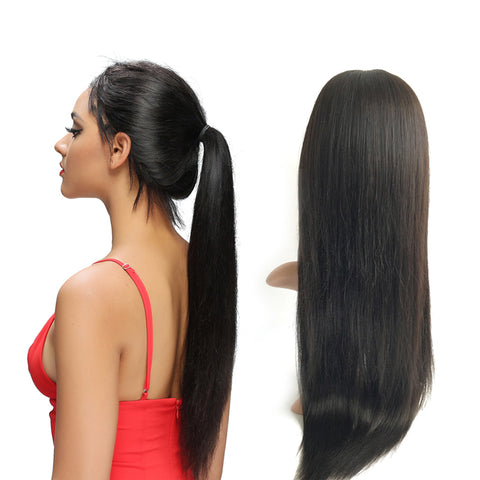 22 Inches Black Straight Virgin Human Hair 360 Lace Wigs For Gorgeous Girls with Baby Hair - Luckin Wigs