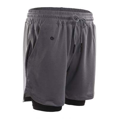 Breathable Soft Men's Running Two-Layer Pocket Shorts - versaley