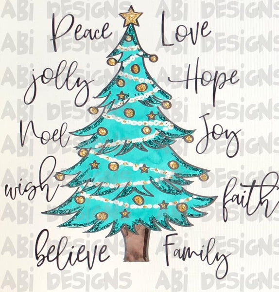 Peace Love Jolly Hope - Sublimation
