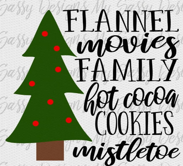Flannel Movies family hot cocoa cookies mistletoes- Sublimation
