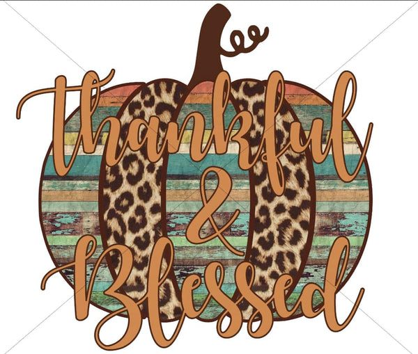 Thankful & Blessed Turquoise/leopard- Sublimation