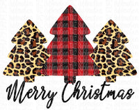 Merry Christmas Buffalo plaid & leopard trees- Sublimation