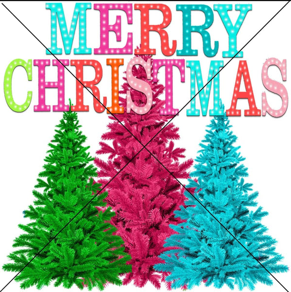 Merry Christmas colorful trees- Sublimation