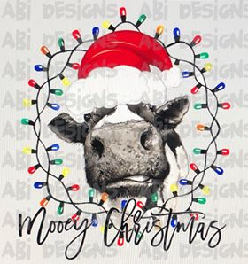 Cow With Christmas Lights Merry Christmas- Sublimation