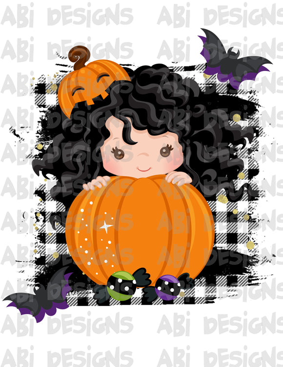Pumpkin Girl With Black Hair - Can Add A Name- Sublimation