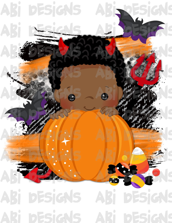 Pumpkin Boy With Black Hair- Can Add A Name- Sublimation