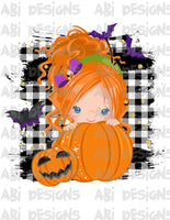 Pumpkin Girl With Orange Hair- Can Add A Name- Sublimation