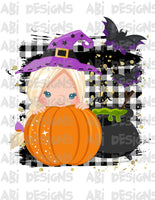 Pumpkin Girl With Blonde Hair- Can Add A Name- Sublimation
