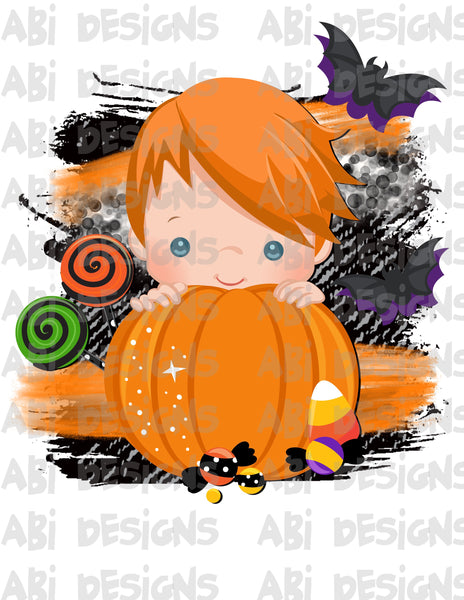 Pumpkin Boy With Orange Hair- Can Add A Name- Sublimation