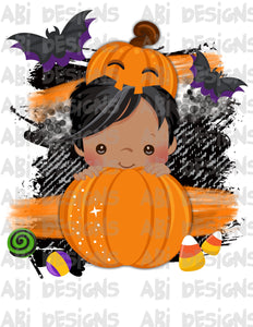 Copy of Pumpkin Boy With Black Hair- Can Add A Name- Sublimation