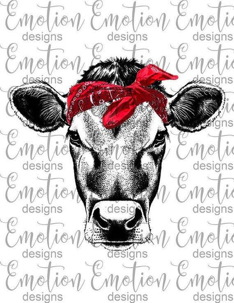 Red Bandana Cow -Sublimation