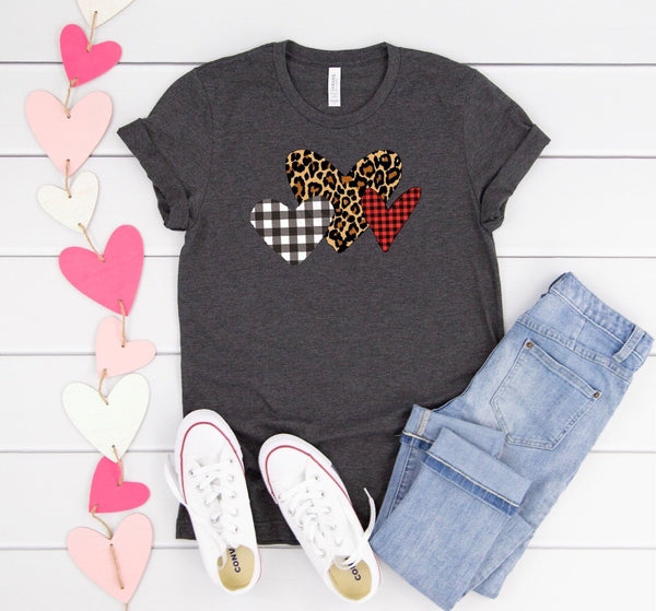"3 hearts leopard and plaid Valentines-11""- Screen Print"