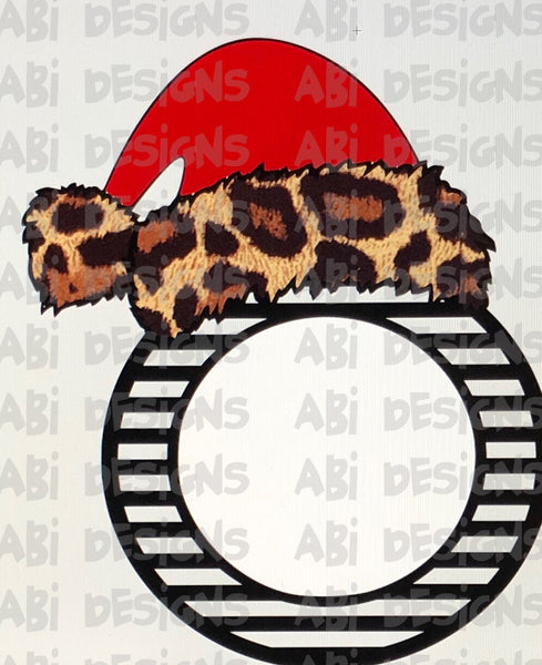 Leopard Santa hat monogram ornament - Sublimation