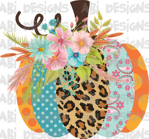 Multicolored patterned pumpkin-Sublimation