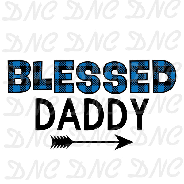 Blessed daddy blue plaid -Sublimation