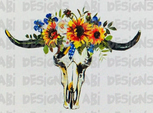 Sunflower Cow Skull -Sublimation