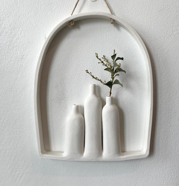Triple Hanging Vase - White