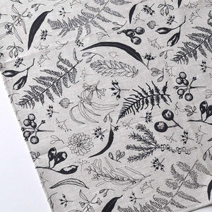 Gathered Tea Towel - Black On Oatmeal